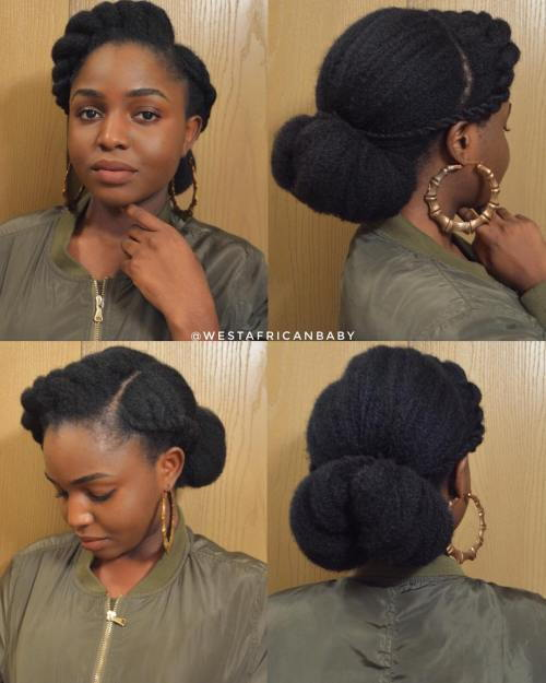Elegantan Low Bun Updo For Natural Hair