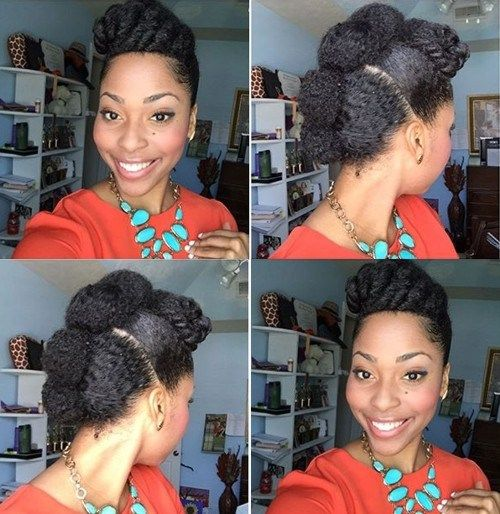 sladak protective Mohawk updo for natural hair