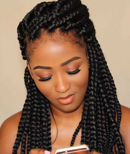 Pola Updo With Thick Box Braids
