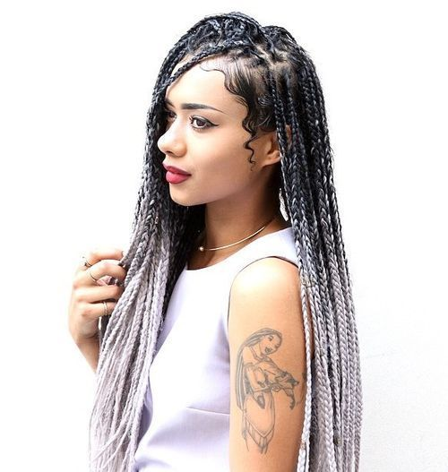 Crno To Silver Ombre Box Braids