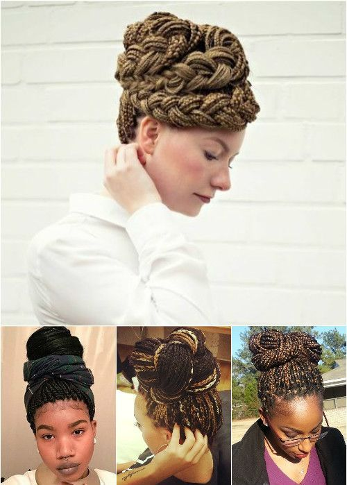 pleteni updos and buns for box braids