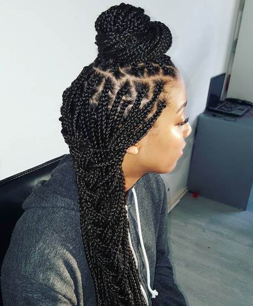Vrh Bun And Side Braid For Box Braids