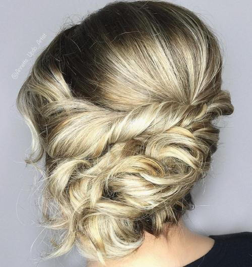 מבולגן Twisted Updo For Medium Hair