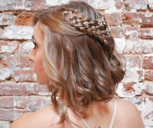 גַלִי bob with a four-strand braid for prom