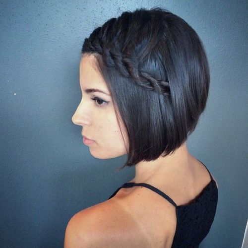 צַד rope braid hairstyle for short hair for prom