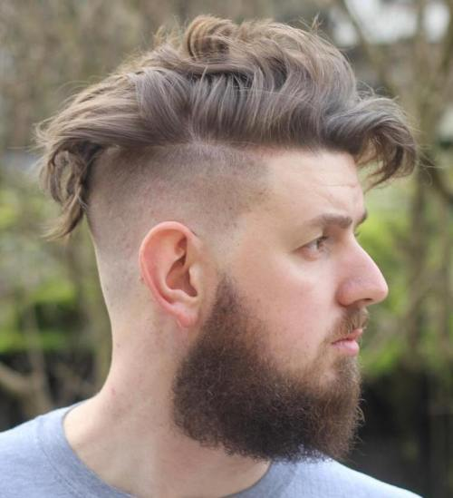 Curly Undercut Hairstyle With Beard