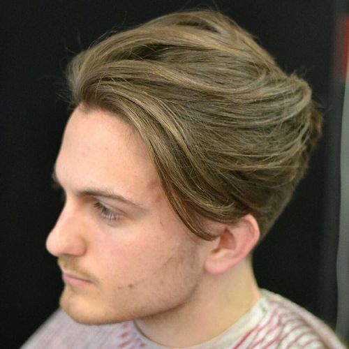 Medium Swept Back Men's Hairstyle