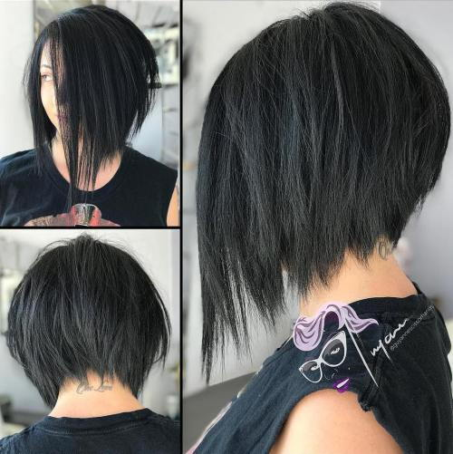 הָפוּך Black Bob With Choppy Ends