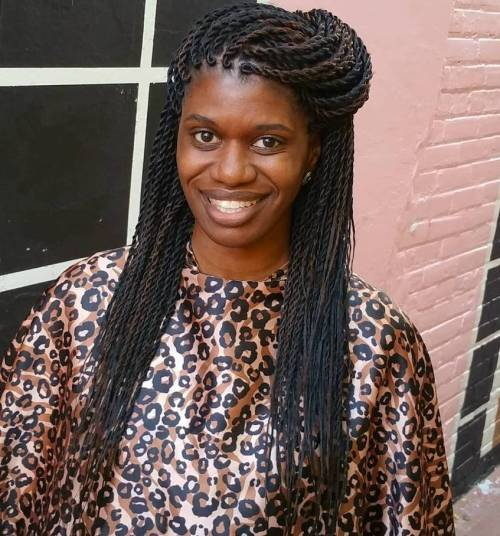 Half Up Hairstyle For Senegalese Twists