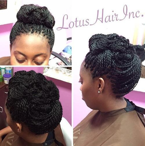 thin twists updo hairstyle