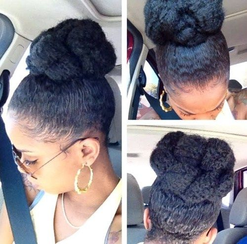 visok bun updo hairstyle for black women