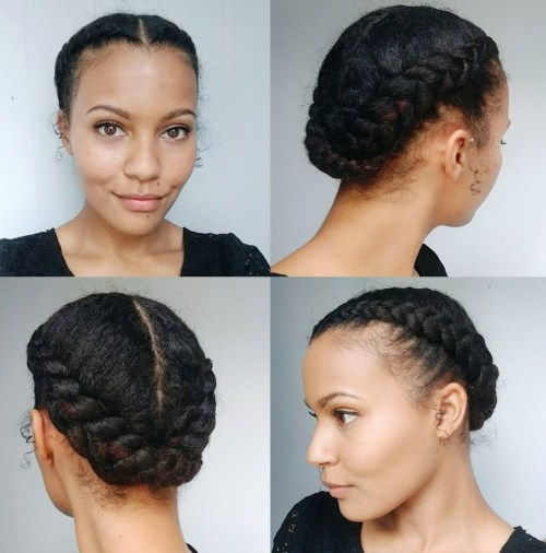 afrički American Centre-Parted Braided Updo