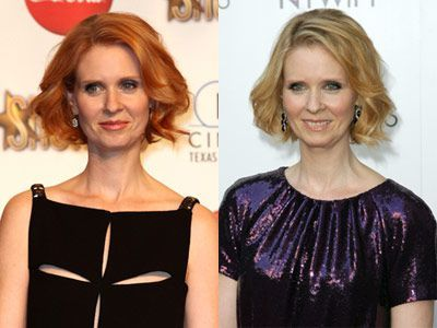 cynthia nixon with red hair and blonde hair
