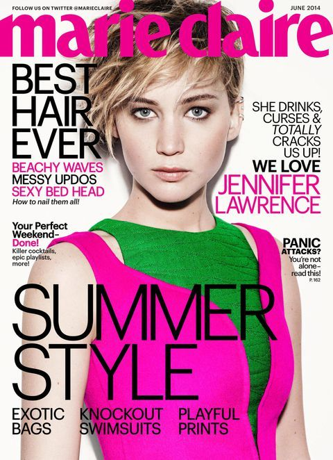 jennifer lawrence on marie claire magazine cover