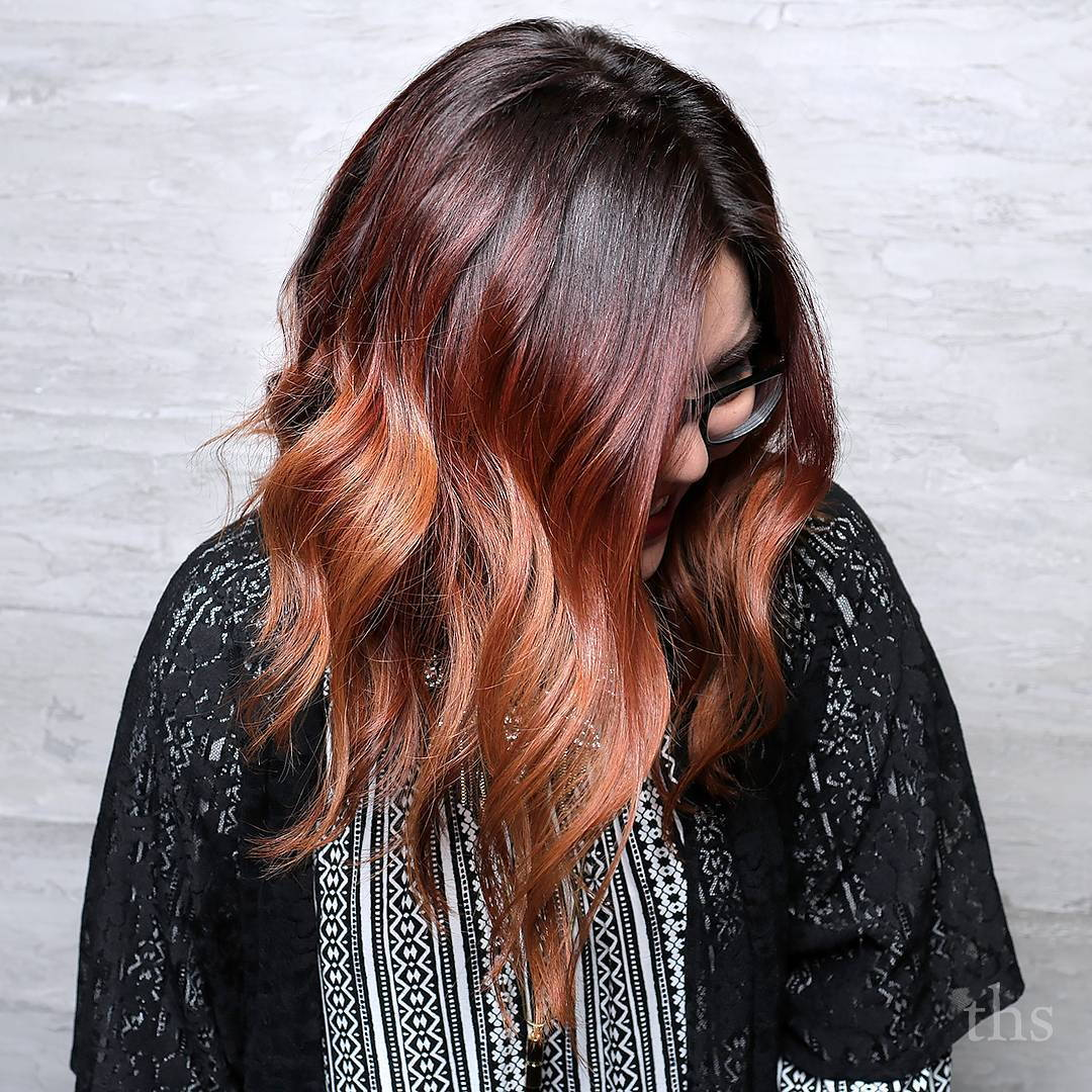 burgundac And Auburn Balayage Hair