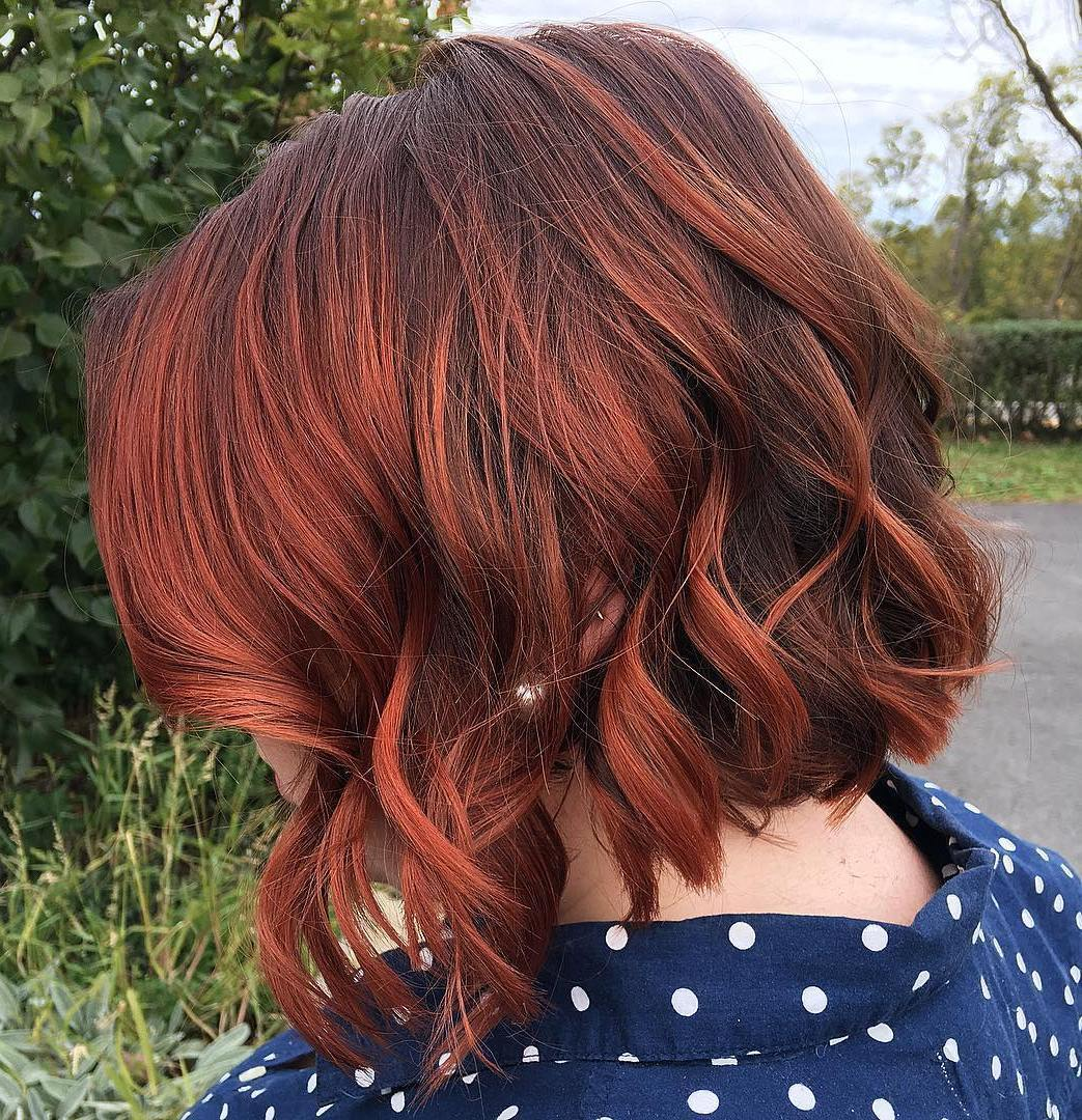 smeđ Bob With Copper Red Balayage
