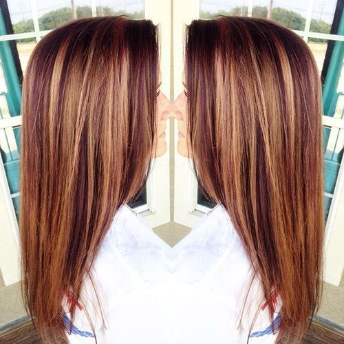 purpurna boja red hair with caramel highlights