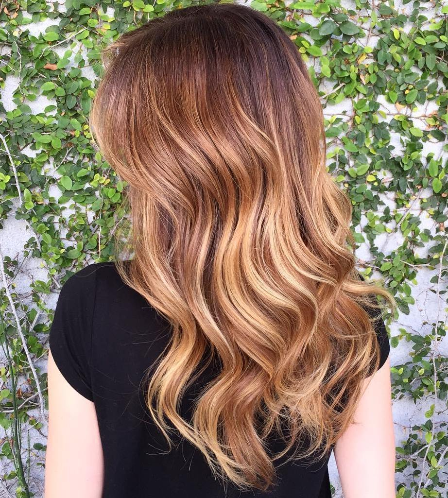 smeđ Hair With Strawberry Blonde Highlights