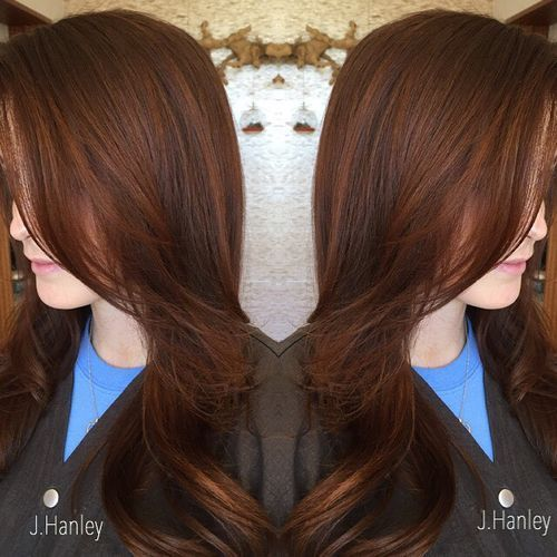 mrak brown hair with subtle red highlights