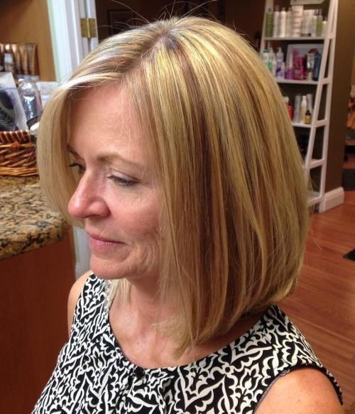 60 + Long Side Parted Blonde Bob