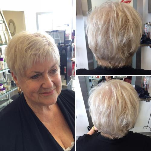 60 + Short Layered Blonde Hairstyle