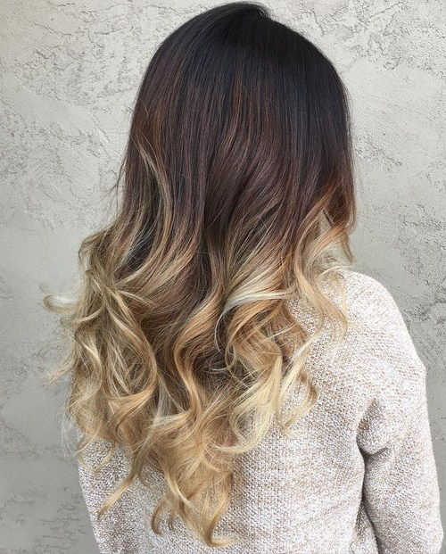 Juoda To Blonde Curly Ombre Hair