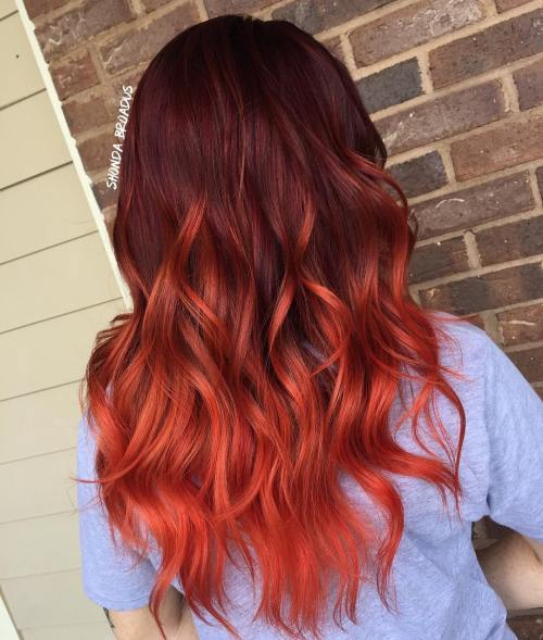Burgundija Hair With Red Ombre Highlights