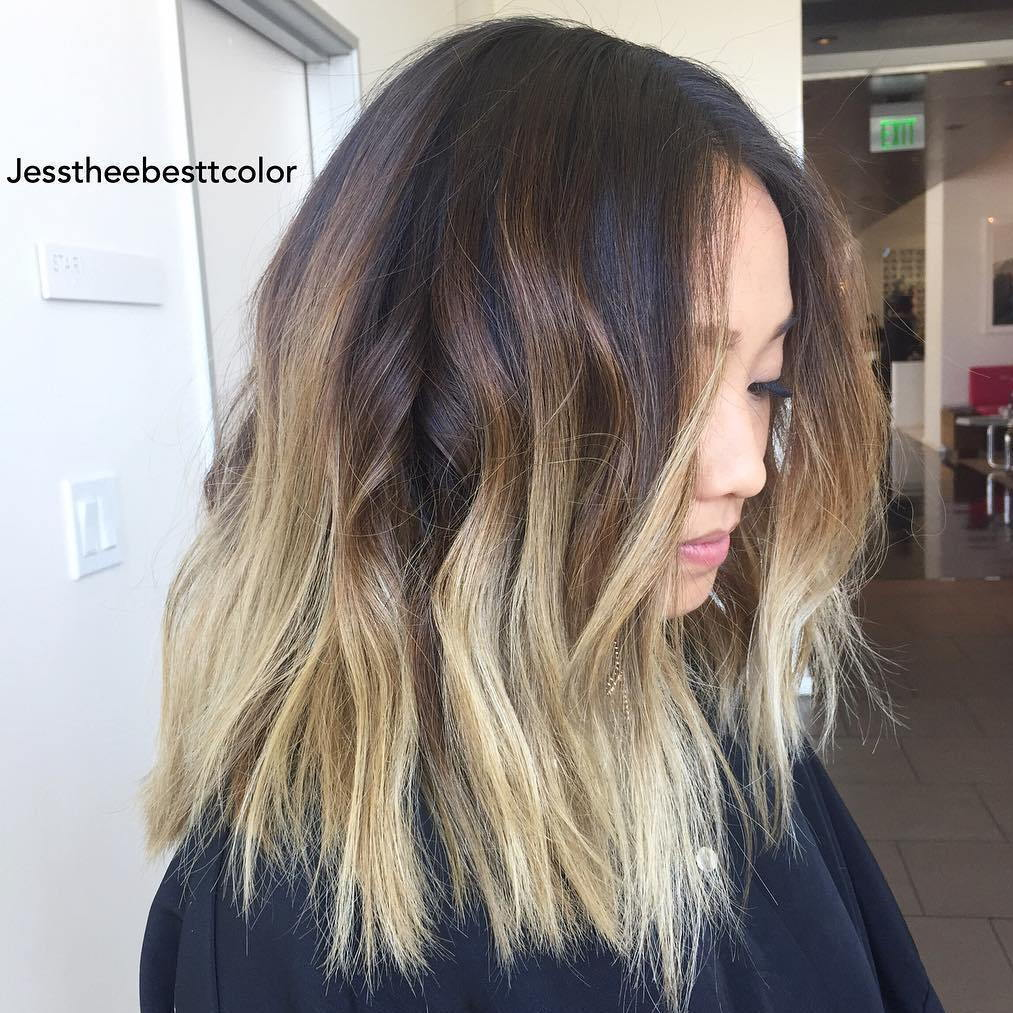 Ruda Lob With Blonde Balayage Ombre