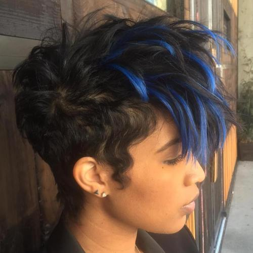 Kratak Black Hairstyle With Blue Highlights