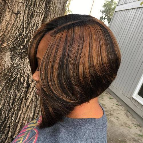 Juoda Side Parted Angled Bob With Highlights