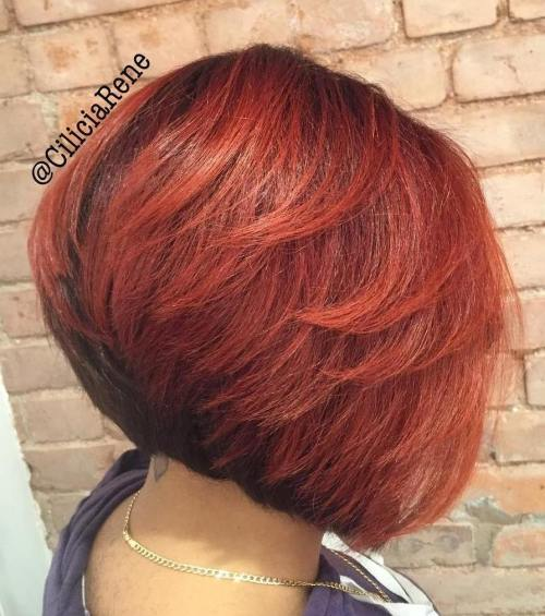 Kampuota Black And Red Bob With Layers