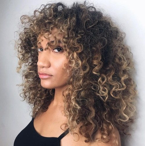 Curly Hairstyle With Bangs For Long Hair