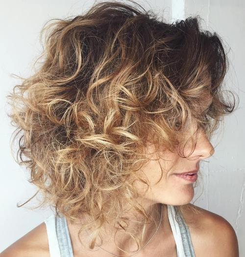 Curly Brown Blonde Ombre Bob