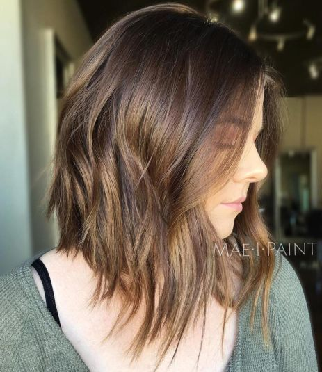 קָטוּעַ Brown Bob With Bronze Balayage