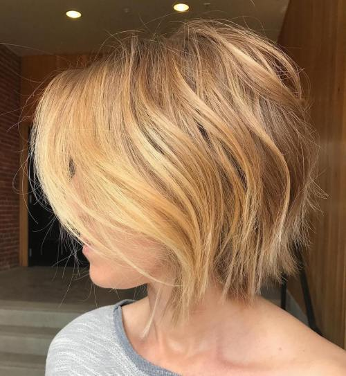 Maslac Blonde Razored Bob For Fine Hair