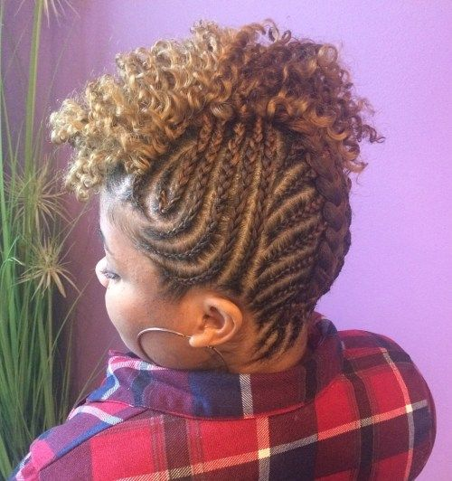 prirodni Braided Updo With Curly Top