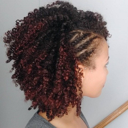 Kratak Black Curly Hairstyle With Side Twists