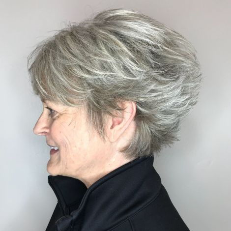 Ilgai Feathered Gray Pixie For Older Women
