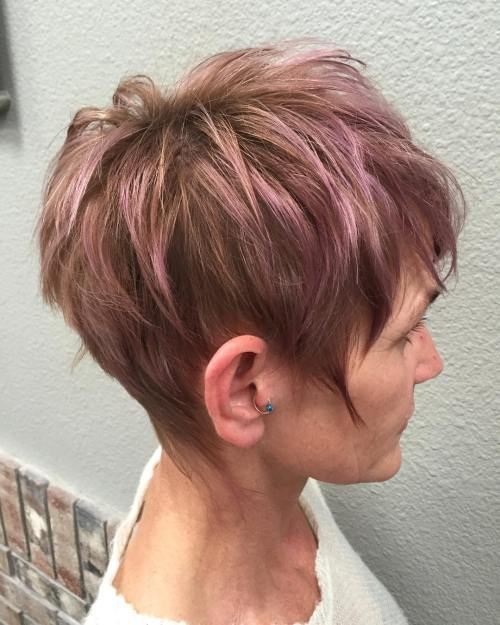 Pastelė Purple Highlights For Brown Pixie