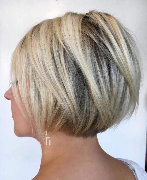 Jaw-Length Layered Blonde Bob