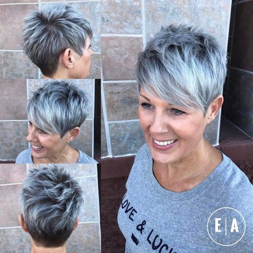 Spikiai Gray Balayage Pixie For Women Over 50