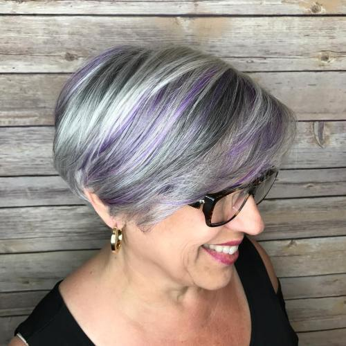 50+ Gray Bob With Pastel Purple Balayage