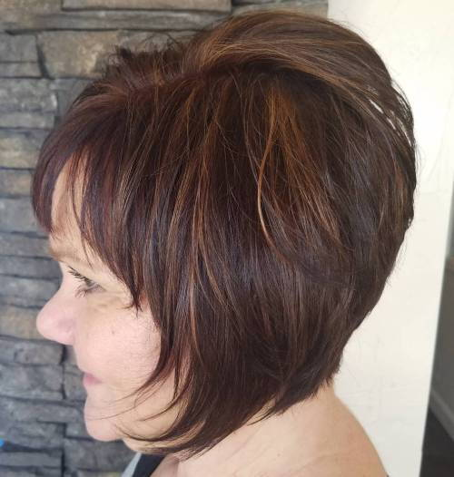 50+ Short Layered Brunette Bob