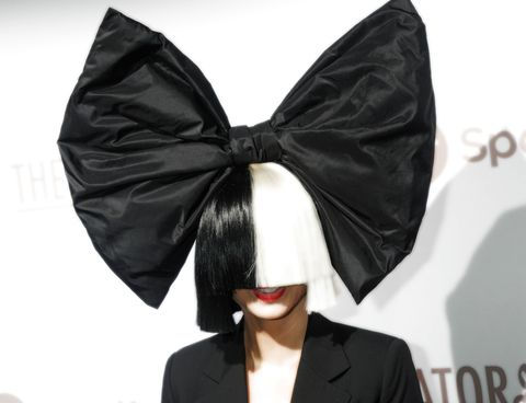 Sia wearing a black-and-white wig.