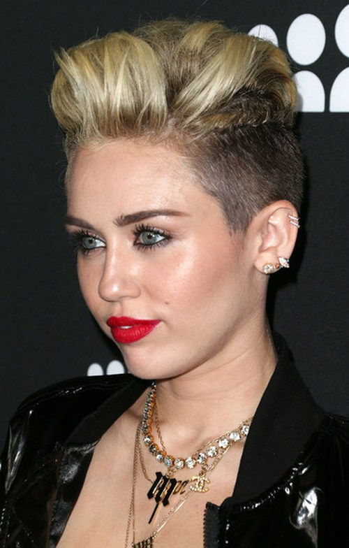 Miley Cyrus short hair with undercuts