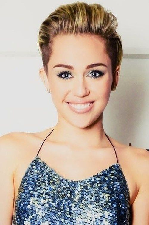 Miley Cyrus short haircut with undercuts