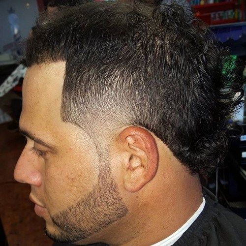 black fauxhawk with faded sides