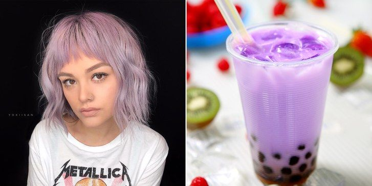 žena with purple hair and taro bubble tea