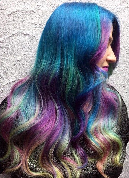 mėlyna teal and lavender pastel hair color