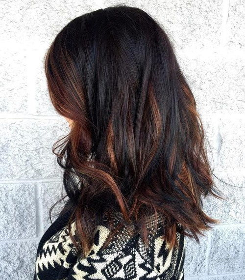 tamsi brown hair with dark caramel highlights